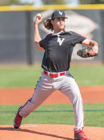 UNLV pitcher Dean Kremer pitches from the mound during practice at Earl E. Wilson Stadium at UNLV in Las Vegas Wednesday, Feb. 24, 2016. Dean is the first Israeli citizen to be drafted by Major Le ...
