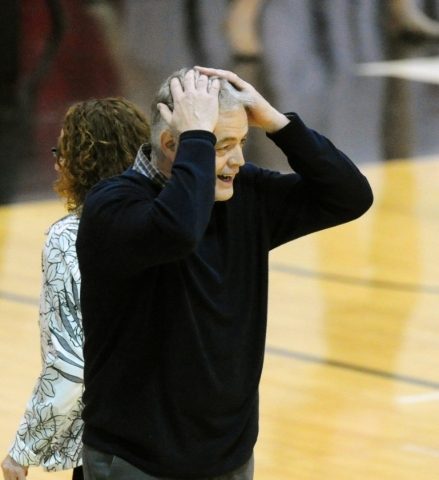 Boise State head coach Gordy Presnell reacts after his team was called for a foul late in the fourth quarter of their basketball game at the Cox Pavilion in Las Vegas Wednesday, Feb. 24, 2016. UNL ...