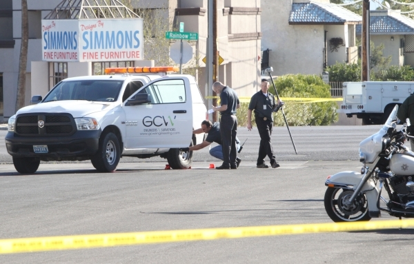 Las Vegas police are investigating an accident that injured two pedestrians in the intersection of South Rainbow Boulevard and Del Ray Avenue Wednesday, Feb. 24, 2016, in Las Vegas. Bizuayehu Tesf ...