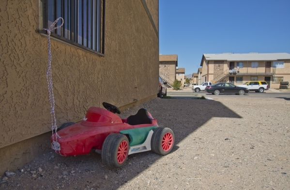 A toy car sits tied up outside a home in a neighborhood that has seen a dramatic rise in poverty near Nellis and Las Vegas boulevards on Thursday, Feb. 25, 2016. Daniel Clark/Las Vegas Review-Jour ...