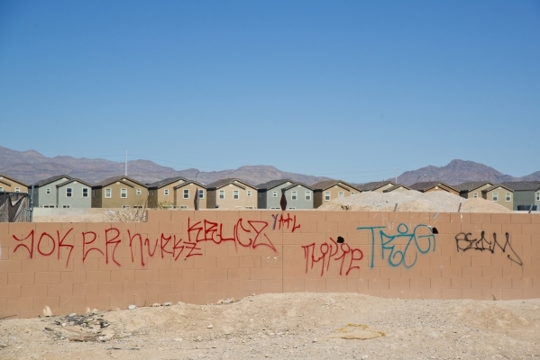 Graffiti remains uncleaned in a neighborhood that has seen a dramatic rise in poverty near Nellis and Las Vegas boulevards on Thursday, Feb. 25, 2016. Daniel Clark/Las Vegas Review-Journal Follow  ...