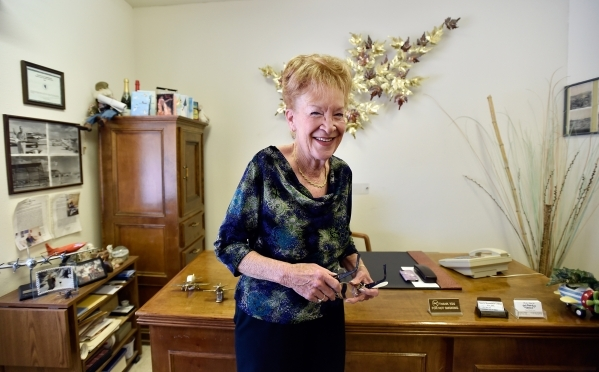 Town founder Nancy Kidwell stands in her office at the Cal-Nev-Ari Casino on Thursday, Feb. 25, 2016, in Cal-Nev-Ari. Kidwell, together with her late husband Slim Kidwell, acquired 640 acres of la ...