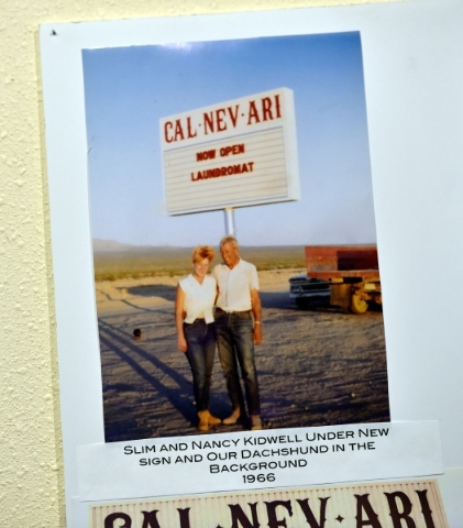 Town founders Nancy and Slim Kidwell are seen in a 1966 photo as it is displayed in the Cal-Nev-Ari Casino on Thursday, Feb. 25, 2016, in Cal-Nev-Ari. The Kidwells acquired 640 acres of land, 70 m ...