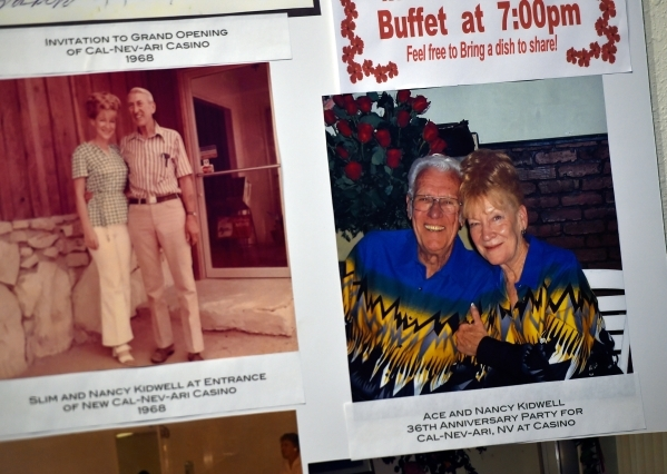 Photographs of Nancy Kidwell with Slim Kidwell, left, and Ace and Nancy Kidwell on the right are displayed inside the Cal-Nev-Ari Casino on Thursday, Feb. 25, 2016, in Cal-Nev-Ari. Kidwell, and he ...