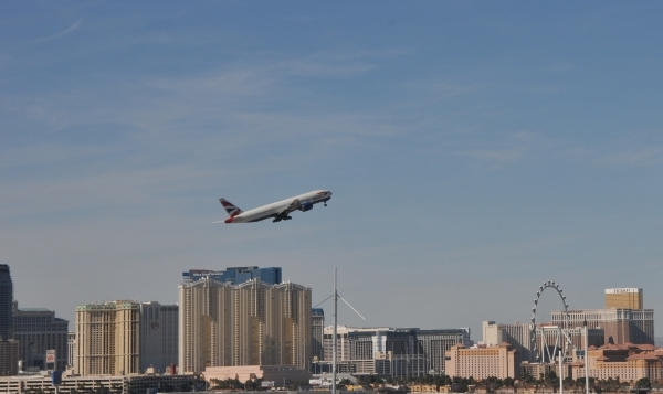 The British Airways Boeing 777 that aborted a takeoff at McCarran International Airport in September flies out of McCarran International Airport on Friday, Feb. 26, 2016. Courtesy, Clark County De ...