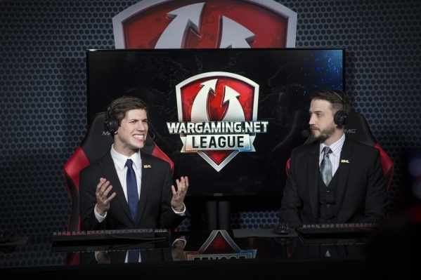 Christian Toma, left, and David Williams, serve as commentators during the Wargaming League North America finals tournament at Downtown Grand Las Vegas casino-hotel on Saturday, Feb. 27, 2016, in  ...