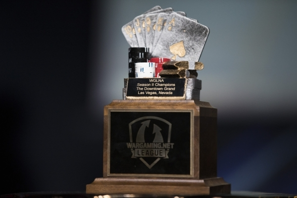 The Wargaming League North America trophy is seen during the finals tournament at Downtown Grand Las Vegas casino-hotel on Saturday, Feb. 27, 2016, in Las Vegas. Erik Verduzco/Las Vegas Review-Jou ...