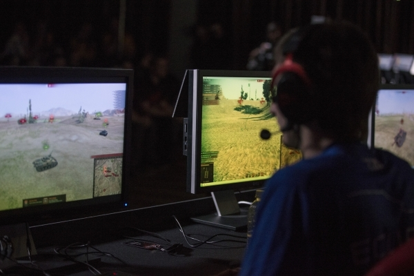 Vlad Zamai of team Eclipse competes in the World of Tanks game during the Wargaming League North America World finals tournament at Downtown Grand Las Vegas casino-hotel on Saturday, Feb. 27, 2016 ...