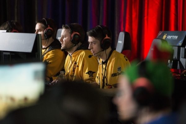 Players with team Noble compete in the World of Tanks semifinal game during the Wargaming League North America World finals tournament at Downtown Grand Las Vegas casino-hotel on Saturday, Feb. 27 ...