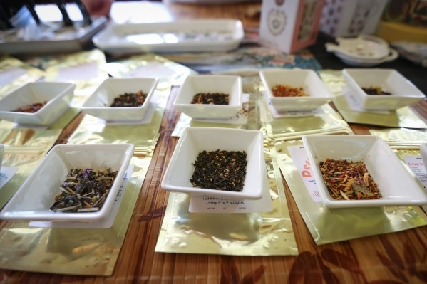 Vegas Tea, center, offered by the Tovah Team, sits on their table during the Southwest Tea Fest at the Downtown 3rd Farmer's Market at in Las Vegas on Saturday, Feb. 27, 2016. Vegas Tea star ...