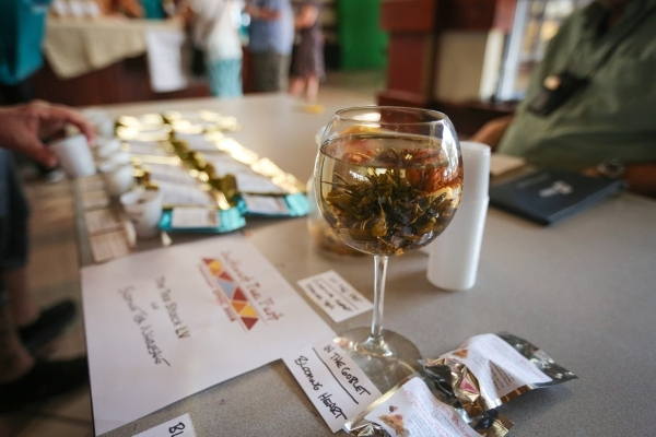 Blooming heart tea sits in a wine glass on the table of The Tea Shack LV during the Southwest Tea Fest at the Downtown 3rd Farmer's Market at in Las Vegas on Saturday, Feb. 27, 2016. Brett L ...