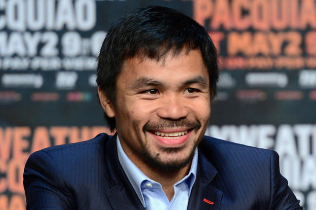 Apr 29, 2015; Las Vegas, NV, USA; Manny Pacquiao looks on during a press conference at KA Theatre. (Joe Camporeale/USA Today Sports)