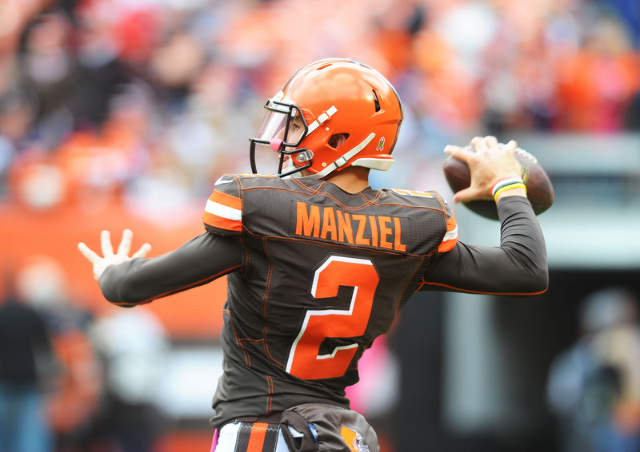 Oct 18, 2015; Cleveland, OH, USA; Cleveland Browns quarterback Johnny Manziel warms up before the game against the Denver Broncos at FirstEnergy Stadium. (James Lang/USA Today Sports)