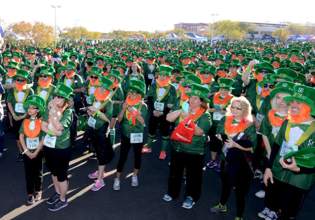 St. Balrick's Foundation for Childhood Cancer Research 5k Run attempts to break the record for the largest gathering of leprechauns at Town Square in Las Vegas. Saturday, February 13, 2016.  ...