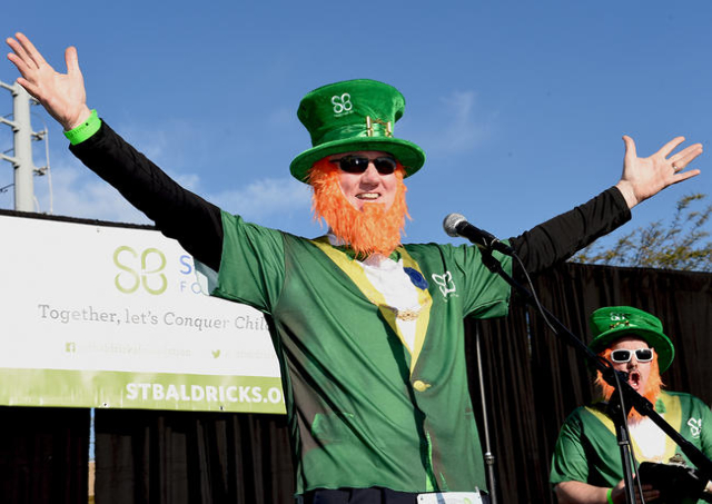 "Clark County Commissioner Larry ""O'Brown"" at the St. Baldrick's Foundation for Childhood Cancer Research 5k Run as they attempt to break the record for the largest gathering  ..."