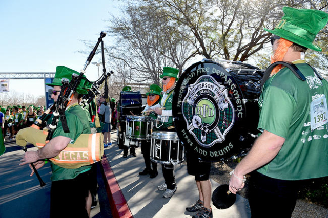 Henderson Fire Department Pipes and Drums sound the beginning of the St. Baldrick's Foundation for Childhood Cancer Research 5k Run attempting to break the record for the largest gathering o ...