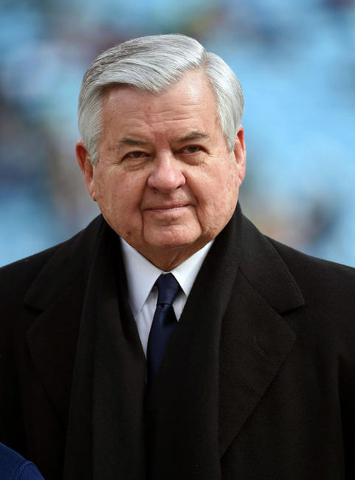 Jan 17, 2016; Charlotte, NC, USA; Carolina Panthers owner Jerry Richardson on the field prior his team facing the Seattle Seahawks in the NFC Divisional round playoff game at Bank of America Stadi ...