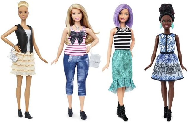 New Barbie doll body shapes of tall, left, curvy and petite, far right, are seen next to the traditional Barbie, second right, Jan. 28, 2016. (Mattel/Handout via Reuters)