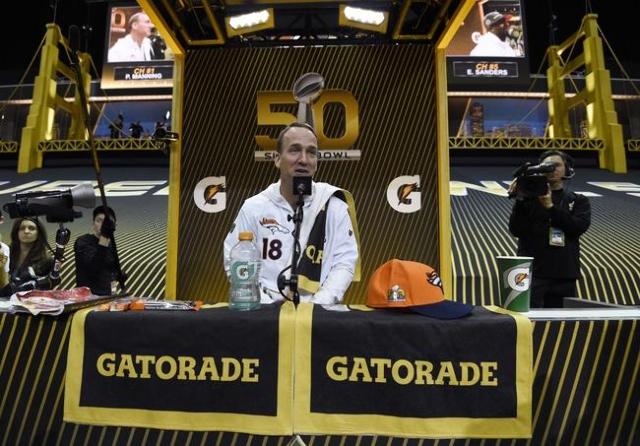 Feb 1, 2016; San Jose, CA, USA; Denver Broncos quarterback Peyton Manning (18) during Super Bowl 50 Opening Night media day at SAP Center. Mandatory Credit: Kyle Terada-USA TODAY Sports