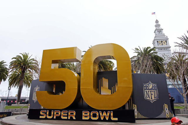 Feb 2, 2016; San Francisco, CA, USA; General view of the Super Bowl 50 numerals sculpture and Ferry Terminal at Super Bowl City in downtown San Francisco prior to Super Bowl 50 between the Carolin ...