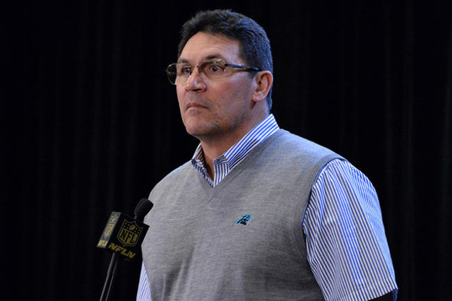 Feb 2, 2016; San Jose, CA, USA; Carolina Panthers coach Ron Rivera addresses the media at press conference prior to Super Bowl 50 at the San Jose McNery Convention Center. Mandatory Credit: Kirby  ...