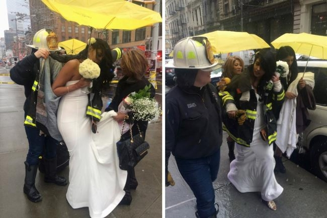 Bride-to-be Nesh Pilay, 25, is assisted by a New York City firefighter after a crane collapsed near the beauty salon where she was having her hair done in downtown Manhattan in New York February 5 ...