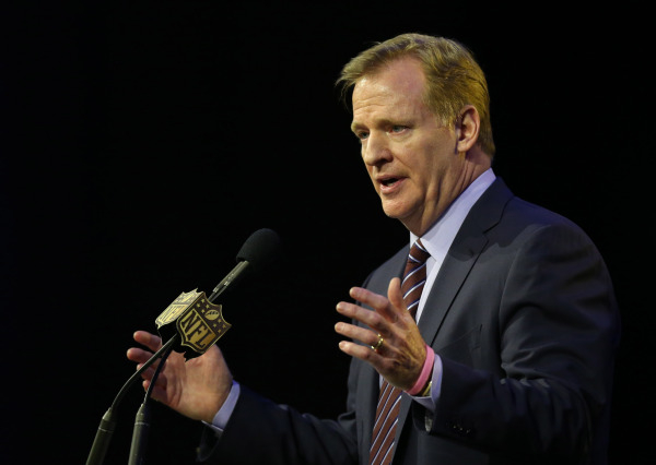 Feb 5, 2016; San Francisco, CA, USA; NFL commissioner Roger Goodell speaks during a press conference at Moscone Center in advance of Super Bowl 50 between the Carolina Panthers and the Denver Bron ...