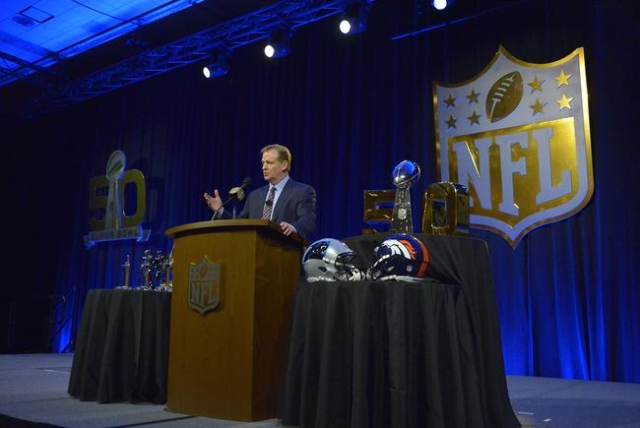 Feb 5, 2016; Santa Clara, CA, USA; NFL commissioner Roger Goodell during a press conference at Moscone Center in advance of Super Bowl 50 between the Carolina Panthers and the Denver Broncos. Mand ...