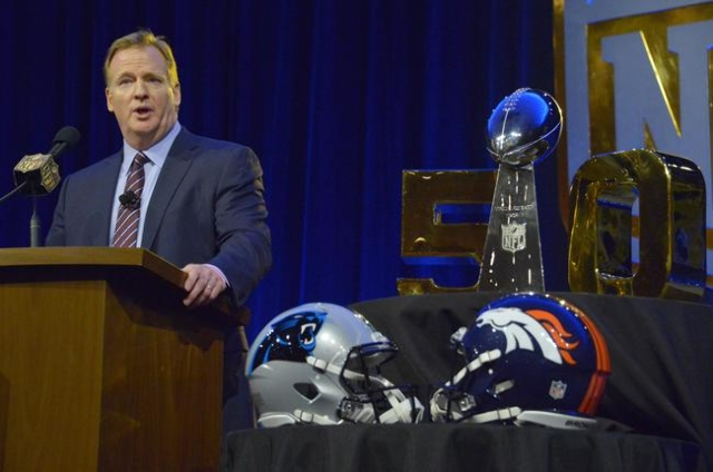 NFL commissioner Roger Goodell during a press conference at Moscone Center in Santa Clara, California, in advance of Super Bowl 50 between the Carolina Panthers and the Denver Broncos, Feb 5, 2016 ...