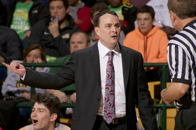 Feb 6, 2016; Fairfax, VA, USA; Dayton Flyers head coach Archie Miller questions a call against the George Mason Patriots during the first half at EagleBank Arena. Mandatory Credit: Rafael Suanes-U ...