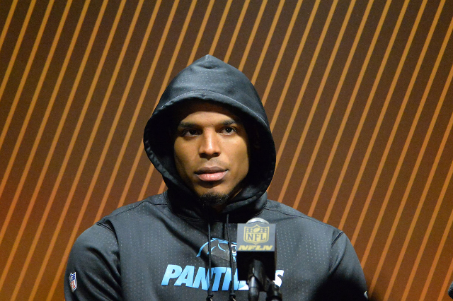 Feb 7, 2016; Santa Clara, CA, USA;Carolina Panthers quarterback Cam Newton (1) speaks to the media after losing Super Bowl 50 at Levi's Stadium. Mandatory Credit: Kirby Lee-USA TODAY Sports