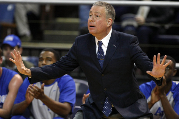 Feb 10, 2016; Reno, NV, USA; Air Force Falcons Head Coach Dave Pilipovich calls out a play during the first half of their NCAA basketball game with the Nevada Wolf Pack at Lawlor Events Center. (L ...