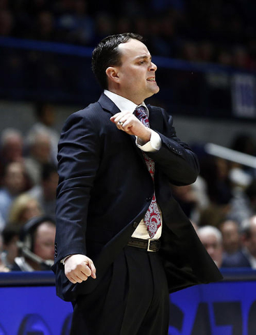 Feb 12, 2016; Kingston, RI, USA; Dayton Flyers head coach Archie Miller reacts during the first half of a game against the Rhode Island Rams at Thomas M. Ryan Center. Mandatory Credit: Mark L. Bae ...