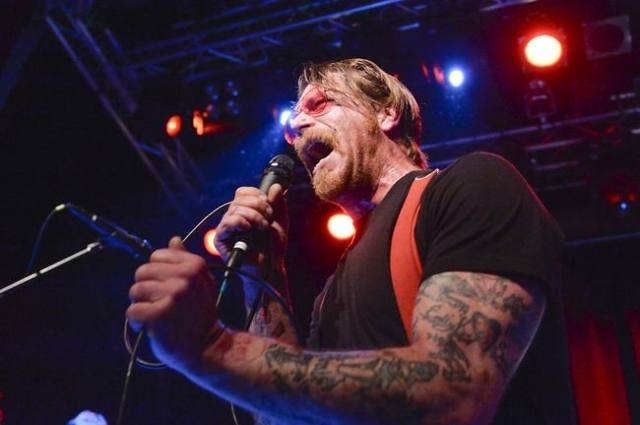 Singer of Eagles of Death Metal, Jesse Hughes, is pictured at the concert at Debaser Medis in Stockholm, Sweden, February 13, 2016. The concert in Stockholm is the band's first after the Batacla ...