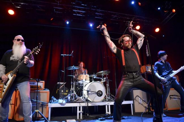 Eagles of Death Metal singer Jesse Hughes is pictured at the concert at Debaser Medis in Stockholm, Sweden, February 13, 2016. The concert in Stockholm is the band's first after the Bataclan ter ...