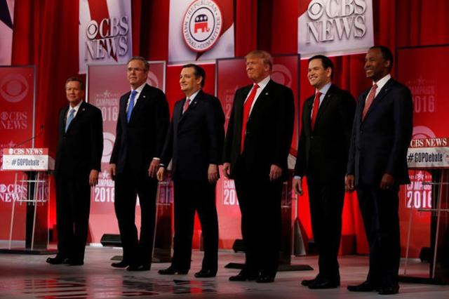 The remaining Republican presidential candidates, (L-R) Governor John Kasich, former Governor Jeb Bush, Senator Ted Cruz, businessman Donald Trump, Senator Marco Rubio and Dr. Ben Carson pose befo ...