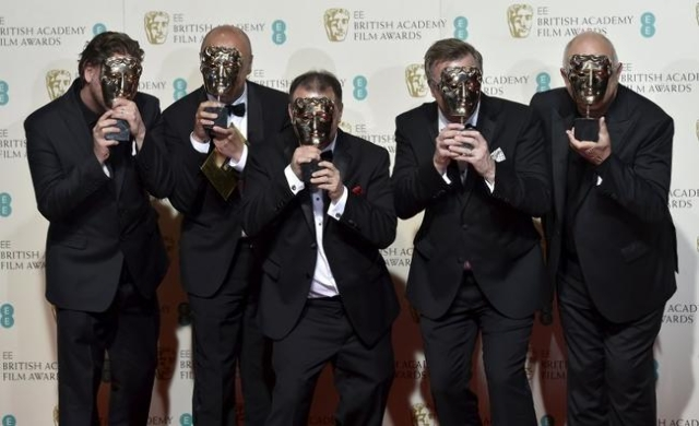 "The sound engineers of ""The Revenant"" pose after winning their awards for best sound at the British Academy of Film and Television Arts (BAFTA) Awards at the Royal Opera House in London  ..."
