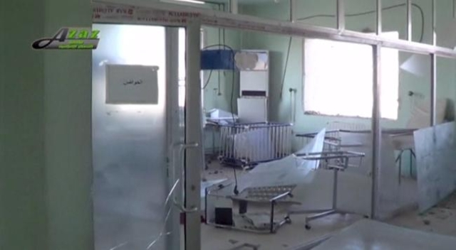 A view of the damaged interior of what is said to be a hospital after a missile attack in Azaz, Aleppo, Syria, February 15, 2016 in this still image taken from a video on a social media website. ( ...