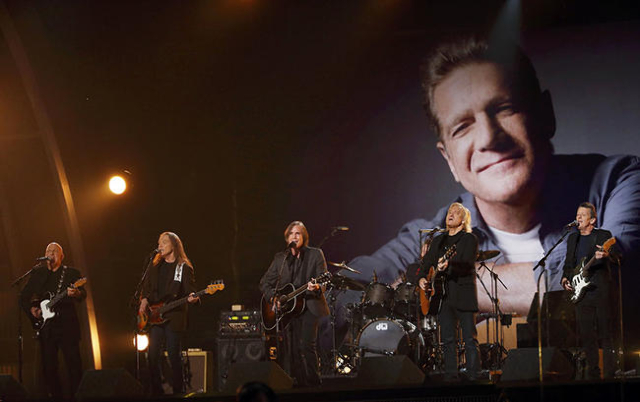Jackson Browne and The Eagles perform a tribute to Glenn Frey during the 58th Grammy Awards in Los Angeles, California February 15, 2016.  REUTERS/Mario Anzuoni