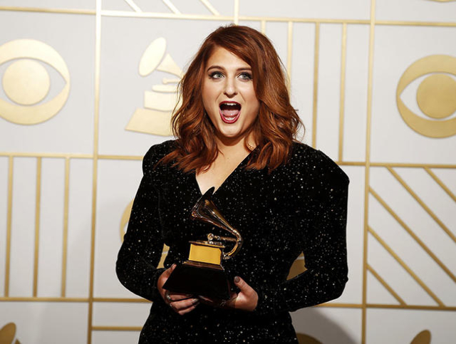 Meghan Trainor poses with the award for Best New Artist during the 58th Grammy Awards in Los Angeles, California February 15, 2016.  REUTERS/Lucy Nicholson