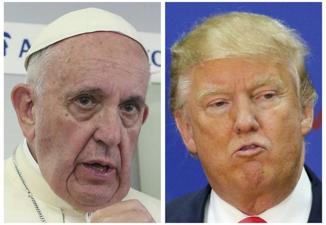 """Pope Francis assailed Republican presidential candidate Donald Trump's views on U.S. immigration as """"not Christian"""" on Thursday, Feb. 18, 2016, prompting the billionaire businessma ..."""