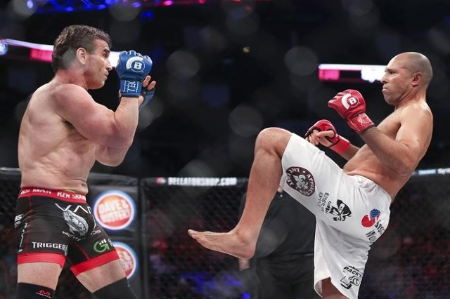 Feb 19, 2016; Houston, TX, USA; Royce Gracie (red gloves) competes against Ken Shamrock (blue gloves) during their main event fight at Bellator 149 at Toyota Center. (Reuters/Troy Taormina-USA TOD ...