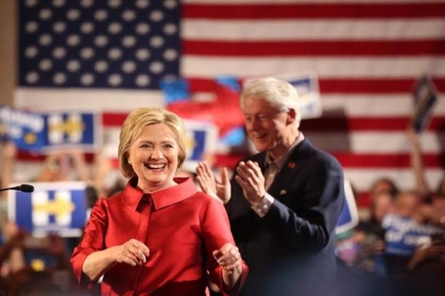 Hillary and Bill Clinton victory party (Jeff Scheid/ Las Vegas Review-Journal)