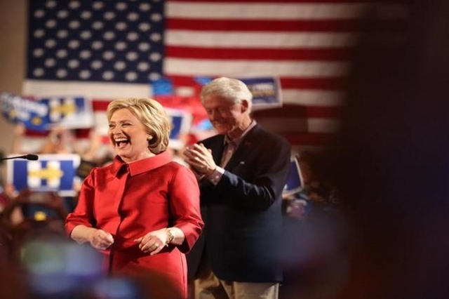 Hillary and Bill Clinton at victory party (Jeff Scheid/ Las Vegas Review-Journal)