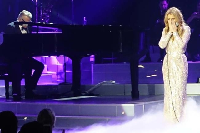 Celine Dion is overcome with emotion near the end of her show at The Colosseum at Caesars Palace, Tuesday, Feb. 23, 2016. It was her first night back on stage since the death of her husband and li ...