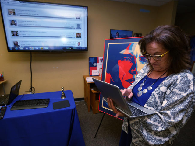 State Sen. Debbie Smith, D-Sparks, watches primary election results at the Washoe County Democratic Party headquarters in Reno on Tuesday, June 10, 2014. (Las Vegas Review-Journal/Cathleen Allison)