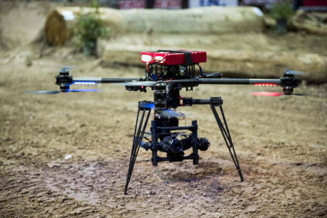The Cinestar X8 Drone Prepares To Launch During A Practice Run Before Geico Endurocross Race