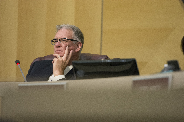 Henderson Mayor Andy Hafen listens to city manager candidate Steven R. Sarkozy answer questions during Sarkozy's interview in council chambers at Henderson City Hall on Thursday, July 9, 201 ...