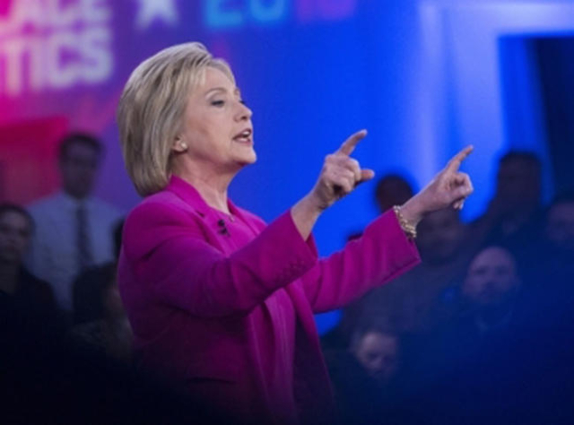 Hillary Clinton speaks during a Nevada Democratic Town Hall at the Keep Memory Alive Las Vegas Event Center on Thursday, Feb. 18, 2016, in Las Vegas. (Erik Verduzco/Las Vegas Review-Journal Follow ...