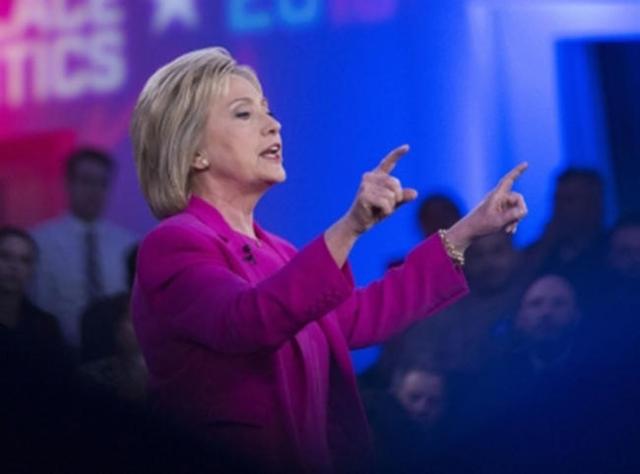 Hillary Clinton speaks during a Nevada Democratic Town Hall at the Keep Memory Alive Las Vegas Event Center on Thursday, Feb. 18, 2016, in Las Vegas. (Erik Verduzco/Las Vegas Review-Journal Follow ...